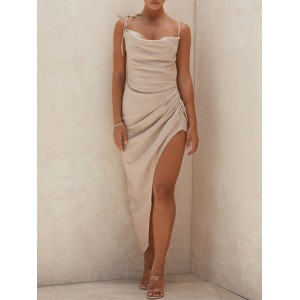 Womens Maxi Dresses Sleeveless Champagne Straps Neck Split Front Bodycon Backless Polyester Long Cami Dress #10290932732