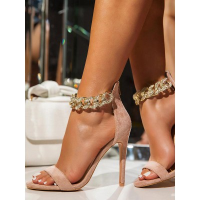 Heel Sandals Apricot Stiletto Heel Square Toe PU Leather Ankle Strap Heels hot topic #113240952674